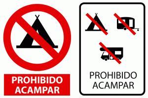 Señal prohibido acampar