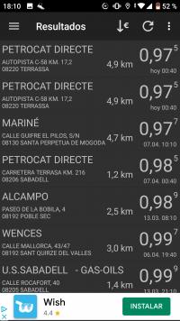 Pantalla precio gasolina app